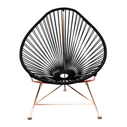 Innit Designs - Copper Acapulco Chair by Innit Designs - The classically cool Acapulco Chair, coated in copper. The Innit Designs Copper Acapulco Chair features the original's comfortable pear-shaped seat, airy open weave vinyl, and architectural steel frame. Except here, the frame is warmed up by copper plating, which adds even more glamour to the retro-modern feel of the chair and provides rich contrast to the black vinyl seat. That's a great chair, innit? Innit Designs was originally founded in Mexico as a maker of fun, retro outdoor furnishings. Starting with the original Acapulco Chair, all Innit furniture is made with welded steel tube frames and woven vinyl seats, resulting in pieces that are airy, colorful and surprisingly comfortable. Today, all Innit Designs chairs and other furniture are made entirely by hand in the USA and Canada.