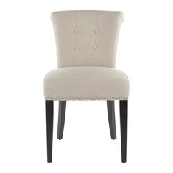 Safavieh - Aveline Side Chair - Fine dining begins with comfortable, elegant seating and the Aveline side chairs are an ideal solution to complement traditional, transitional and even contemporary settings.  With taupe linen blend fabric, gently rolled back, button tufting and silver nail head trim, these straight-legged beauties offer a designer look that is easy on the wallet.