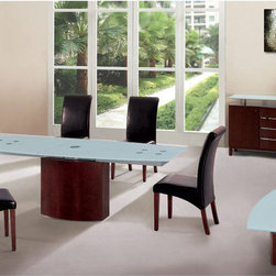Extendable Wood and Frosted Glass Top Leather Modern Dining Set with Leaf - Modus ultra modern dining room set w/ frosted glass top.  Chair: Black Leather and Brown Leather side chairs on wooden quadrangular legs. This elegant collection 'Modus' offers unparalleled beauty and style for your home decor.