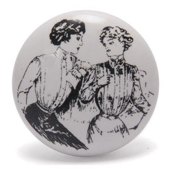 "Knobco - Ceramic Knob, White - Ladies Sketch on White Ceramic  cabinet knob, perfect for your kitchen and bathroom cabinets! The knob is 1.5"" in diameter and includes screws for installation."