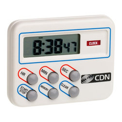 CDN TM8 Digital Cooking Timer & Clock Kitchen Timer - When every second counts CDN timers are there to make sure that the job gets done right. For the most versatility in timing a variety of tasks choose an Hour/Minute/Second Timer. Each model offers different convenience features such as memory and lock buttons multi-event programming and clock/stopwatch options.
