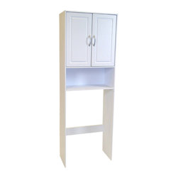 4D Concepts - 4D Concepts Double Door Space Saver in White - What a wonderful storage space saving unit for your bathroom! This space saver has 2 decorative vacuumed formed doors with shaped pewter colored handles that swing open to one adjustable shelf. The shelf below the doors is great for washcloths and any other nick knacks. The space saver fits nicely in any bathroom in the home and offers additional storage. Constructed of composite board and highly durable PVC laminate. Clean with a dry non abrasive cloth. Assembly required.