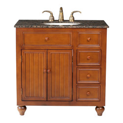 "Stufurhome - 36"" Mary Single Sink Vanity With Baltic Brown Granite Top - A perfect choice for a mission or country-style home, the 36"" Mary Single Sink Vanity offers clean lines and simplistic design. The welcoming warmth of the cozy brown finish strikes a perfect balance with the sleek lines of the Baltic Brown granite top. Wood hardware helps achieve a cohesive look, while the three roomy drawers and two doors offer an impressive amount of storage space for your every need."