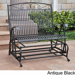 International Caravan - International Caravan Mandalay Iron Double Glider Bench Seat - Spend a relaxing afternoon alone or with a loved one in this iron glider bench seat. This comfortable chair seats two people and works great in sunrooms or backyards. Its study construction allows it to be enjoyed for years.