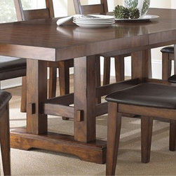 None - Denver 108-inch Trestle Table - This long Denver trestle table ensures there will be plenty of room for everyone. With a beautiful lightly distressed brown cherry finish featuring dark brown highlights, this table adds a traditional style to your dining area.