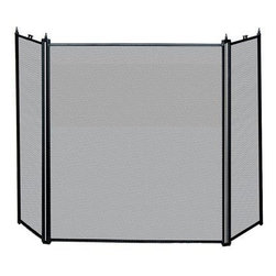 Blue Rhino - 3 Fold Black Screen - All's well until the wood log begins to crackle and pop sending burning embers flying into your living room. Easily prevent your fire from spreading with this three-paneled adjustable, mesh fireplace screen.