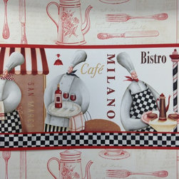 Red Chef Bistro Wallpaper Border - Red Chef Cafe Wallpaper Border (KB79722) on Kitchen Utensils Wallpaper Background (KE29938)