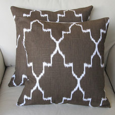 Ikat Coffee on White /two pillow covers 18x18 same by yiayias