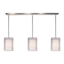 Z-Lite - Z-Lite 3 Light Island/Billiard - This contemporary fixture uses three cylindrical, white outer organza shades to allow a glimpse of the inner opaque shades, which emanate a soft glow. The hardware is finished in brushed nickel and includes telescoping rods to ensure a perfect hanging height. This fixture would be perfect for any contemporary space.