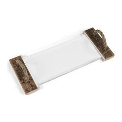 """Zentique - Mark Acrylic Serving Board by Zentique - For those who fancy a chic transitional look, this is a perfect accent for your buffet, bar or island. Use for serving or as a tray for display. The raw appeal of reclaimed wood and rope combined with the simplicity of acrylic offer a stylish up-to-the-minute twist to your entertaining decor. (ZEN) 1"""" high x 23.75"""" wide x 10"""" deep"""