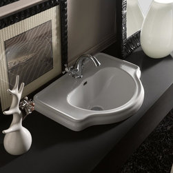 "WS Bath Collections - Retro 24.4"" x 18.1"" Bathroom Sink - Retro 1030 by WS Bath Collections Inset Bathroom Sink in Ceramic White, With One Faucet Hole Centered, With Overflow, Designed by Massimiliano Cicconi, Made in Italy"