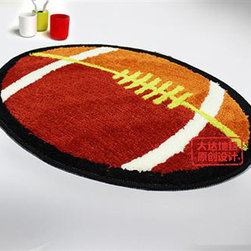 Lovely Rugby Football Bathroom Rug - This rug is yard dyed not printed. Colors go to the base of rug, instead of just sitting on top. This rug is super soft. Unique high-low cut pile design gives added dimension to the fun dot design. Heavy textured latex rubber backing is non-slip/non-skid for safety in moist environments. This rug will maintain it's loft in the pile over time. Very easy to care for.