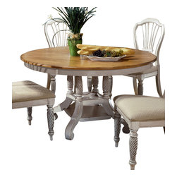 Hillsdale Furniture - Hillsdale Wilshire 56x56 Round to Oval Dining Table in Pine - The Wilshire collection features a blend of cottage styling with country accented details. The blend of Americana and English country gives the Wilshire collection a look and feel that will enhance any home. The craftsmanship is evident in each piece. Opening a drawer is a reflection of old world craftsmanship, complete with tongue and groove drawer bottoms, English dovetail drawer construction and thick solid wood drawers. Finishes have been painstakingly applied to give years of enjoyment.