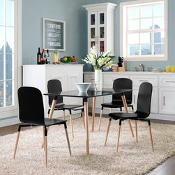 Stack Black Dining Set - Boasting sheer simplicity, Stack unites both form and purpose in a harmoniously designed piece that matches well in any decor. The Table and 4 Chairs exhibit an organic form and fluid lines in a seamless transition from the abstract to the definite.