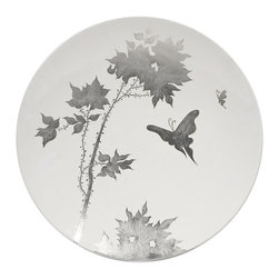 iMax - iMax Mershaw Charger X-01023 - A brilliant white lacquered finish with a delicate silver leaf floral pattern give the Mershaw charger an elegant yet bold presence.