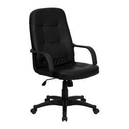 Flash Furniture - Flash Furniture High Back Black Glove Vinyl Executive Office Chair - Very affordable computer chair that will provide you with the right amount of comfort needed for browsing the internet and completing work related tasks. Chair provides passive ergonomic seating with built-in lumbar support.