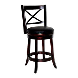 Boraam - Swivel Hardwood Counter Stool w Cappuccino Fi - Choose Seat Height: 24 in. CappuccinoSeat band beneath cushion. Durable and Easy to clean black PVC seat and back. High density FR foam seat. Steel ball bearing swivel. Flared legs and footrest. Made from Solid hardwood RTA. Maximum Weight Capacity: 250 LBS. Not suitable for commercial use. Seat Diameter: 17 in.. 18 in. W x 22 in. D x 37.5 in. H (27 lbs.)