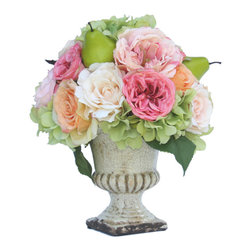 Verterie - Martha's Vineyard Urn - In perfect harmony is the best way to describe the Martha's Vineyard Collection. Rich coral, warm apricot and delicate peach roses, blend beautifully in a cream ceramic urn.