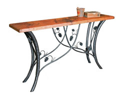Mathews & Company - Piney Woods Console Table Base Only - This rustic Piney Woods Console Table Base Only allows you to use your own table top such as granite, custom wood, stone, or glass. Pictured in Black finish.