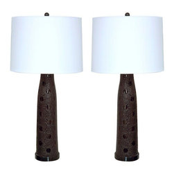 Used Textured Black Glass Lamps - A Pair - Nicely proportioned and very well made pair of vintage 1970's, artist-made, black glass table lamps. The overall effect of the textured glass looks just like mosaic work. A very rarely seen pair of excellent condition, Mid-Century Modern lamps.