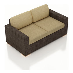 Harmonia Living - Arden Modern Outdoor Loveseat, Heather Beige Cushions - Cozy up to the Arden Outdoor Wicker Loveseat with Tan Sunbrella® Cushions (SKU HL-ARD-LS-CH-HB) to enjoy your outdoor space in style. Its beautiful wicker is finished with a weathered Chestnut finish and is made from High-Density Polyethylene (HDPE), which ensures that the wicker will neither fade nor peel in regular sun exposure. What makes the Arden Collection unique is its high arms, modern style, and extra-plush cushions, all with a hint of classic traditional looks. Its teak feet elevate the seats in an attractive fashion that accent the wicker. The cushions are made from Sunbrella fabric, which is available in a large assortment of shades to give your Arden set the look that fits right into your outdoor space.
