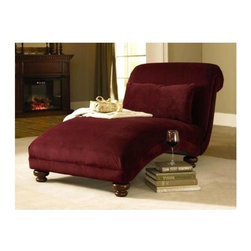 Klaussner - Classic Chaise Lounge in Berry - Reststop (Buckwheat) - Color: Buckwheat. Pictured in Berry. Lean back, stretch out and enjoy the seating environment of the Reststop chaise. Includes rolled edge, lumbar pillow and decorative carved legs. Lumbar pillow is not attached to chaise. 37 in. W x 75 in. L x 37 in. H (74 lbs. ).
