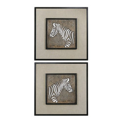 Uttermost - Uttermost Zebra Squares Wall Art Set of 2 07670 - Laser cut metal finished in heavily antiqued ivory with a dark bronze, crackled outer rim and a beige linen background.