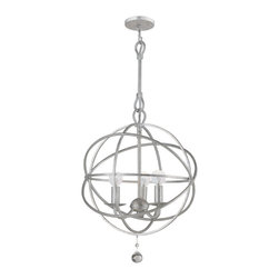 Crystorama - Solaris Chandelier - Solaris chandelier features an olde silver, english bronze or wet white finish. Available in a small, medium, large or extra large size option as well as a wall sconce version. Small is 12 inches wide x 16.5 inches high, includes an 8 inch rod and 72 inch chain, and requires three 60 watt 120 volt G16.5 candelabra base incandescent lamps not included. Medium is 22 inches wide x 27.5 inches high, includes an 8 inch rod and 72 inch chain, and requires six 60 watt 120 volt G16.5 candelabra base incandescent lamps not included. Large is 28 inches wide x 34.75 inches high, includes a 15 inch rod and 72 inch chain, and requires eight 60 watt 120 volt G16.5 B10 candelabra base incandescent lamps not included. Extra Large is 40 inches wide x 50 inches high, incudes a 15 inch rod and 120 inch chain, and requires nine 60 watt 120 volt G16.5 candelabra base incandescent lamps not included. UL listed.