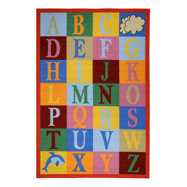 """None - Kids Educational Alphabet Boxes Multi-colored Non-skid Area Rug (4'3"""" x 6'1"""") - This colorful area rug features an educational alphabet theme in bright colors for a fun and functional addition to any kid's room. Designed to be stain resistant this rug is complete with a non-skid rubber backing,alleviating the need for a rug pad."""