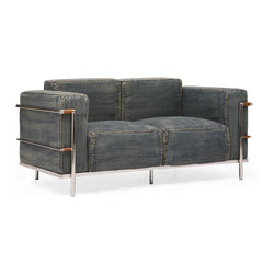 ZUO ERA - Lasso Loveseat Blue Denim - Taking a classic design and added a casual twist, the Lasso series is the perfect blend of comfort and style. The body is wrapped with a soft denim upholstery with chrome accent pieces. Comes in a sofa, loveseat, and an armchair.