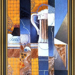 """Art MegaMart - Juan Gris Beer Glass and Cards - 16"""" x 24"""" Framed Premium Canvas Print - 16"""" x 24"""" Juan Gris Beer Glass and Cards framed premium canvas print reproduced to meet museum quality standards. Our Museum quality canvas prints are produced using high-precision print technology for a more accurate reproduction printed on high quality canvas with fade-resistant, archival inks. Our progressive business model allows us to offer works of art to you at the best wholesale pricing, significantly less than art gallery prices, affordable to all. This artwork is hand stretched onto wooden stretcher bars, then mounted into our 3 3/4"""" wide gold finish frame with black panel by one of our expert framers. Our framed canvas print comes with hardware, ready to hang on your wall.  We present a comprehensive collection of exceptional canvas art reproductions by Juan Gris."""