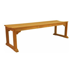 Anderson Teak - Mason 3-Seater Backless Bench - Unlike our benches and chairs with backs, the lowest point in this seat's curve is directly in the center, 'allowing you to face in either ways . This bench also can be used for seating at our rectangular dining table or in area where a bench with a back would be just too tall. Add a planter box or two for a farming, nestled in effect. Cushion is optional and is can be made by order.