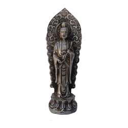 Golden Lotus - Chinese Hand Made Silver Color Standing Kwan Yin Metal Statue - This is a small but elegant Kwan Yin Statue. It is made of metal and has very detailed carving.