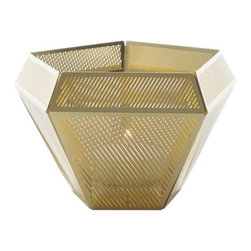 Tom Dixon - Cell Tealight Holder by Tom Dixon - From its pentagonal form down to its angled etching, the Tom Dixon Cell Tealight Holder displays gorgeous geometry. It is made out of thin, photo-etched metal sheets that are assembled by hand into the final gleaming geode. The diagonal patterns of the inner and outer sheets go in alternating directions, creating a complex web of light and shadow. Tom Dixon has a vast commitment to design creativity and a mission to redefine how products are made and sold. The Tom Dixon lighting and furniture collections reflect all of his cutting-edge design and manufacturing innovations, from the product's shape and form to the raw materials and production processes used.