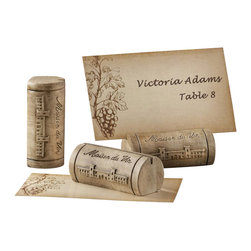 """Handcrafted Model Ships - Set of 4 - Wine Cork Place Card and Photo Holder with Grape Theme Cards 2"""" - When two wine lovers wed, perhaps in a lovely vineyard, and the house wine at the reception is naturally spectacular, there's a favor made just for you. You can share your affinity for wine with guests by choosing this charming place card/photo holder."""