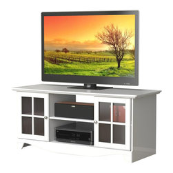 Nexera - Nexera Pinnacle, 56-Inch TV Stand, White - Pinnacle 56-inches TV Stand in white textured lacquer and melamine finish features 2 open central sections for your electronic devices and 2 closed sections with adjustable shelves and doors to store all your DVDs, accessories, etc. Pair this Pinnacle TV Stand with matching Audio Tower for a complete entertainment set. The Pinnacle Collection from Nexera offers a wide selection of TV stands and audio towers of different finishes and designs so you can organise your entertainment area in style and simplicity.