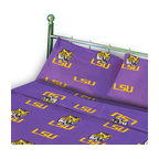 College Covers - Louisiana State Tigers Collegiate Purple King Bed Sheet Set - Features: