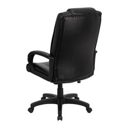 Flash Furniture - Flash Furniture Accent Chair X-GG-AEL-KB-HC-CEPSB1035-OG - This Black Leather Executive Office Chair is truly unique with an oversized headrest that can be customized! This chair from Flash Furniture is the premier choice for anyone seeking an attractive and comfortable chair at an affordable price. Chair features soft black leather upholstery, a spring tilt control mechanism and comfortably padded arms, this leather office chair is sure to please! [GO-5301BSPEC-CH-BK-LEA-GG]