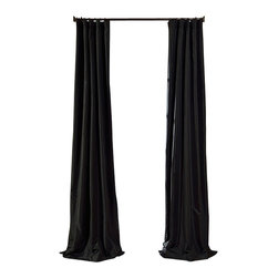 """Exclusive Fabrics & Furnishings, LLC - Jet Black Faux Silk Taffeta Curtain - 56% Nylon & 44% Polyester. 3"""" Pole Pocket with Hook Belt. Lined. Interlined. Imported. Weighted Hem. Dry Clean Only. SOLD PER PANEL."""