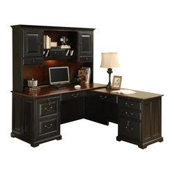 Riverside Furniture - Bridgeport L-Shaped Wood Computer Workstation - Includes left hand computer desk, right hand return and hutch.