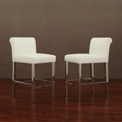 None - Cosmopolitan Stainless Steel White Snake Leather Counter Stools (Set of 2) - These Cosmopolitan counter stool are an ideal choice for your home bar or other seating needs. This set of two stools showcase a luxurious white-colored leather upholstery featuring natural snake-pattern covers.