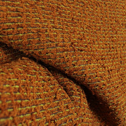 Orange Brown Textured Chenille Upholstery Fabric - Orange and brown textured chenille upholstery fabric.  Very heavy and durable, perfect for your high traffic areas.  The chenille from is very soft and has a lot of texture, some yarns actually stick out from the fabric.  Great accent piece for throw pillows, cover a window seat cushion or use on a headboard for a transitional look.
