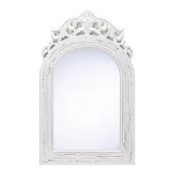 "n/a - Arched-top Wall Mirror - Wood-framed vintage-look mirror adds French country flair to your ""chateau!""  Weathered white finish is a fabulous fit for any color scheme."