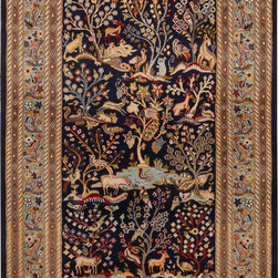 """ALRUG - Handmade Navy Blue Oriental Pictorial Rug 4' x 6' 2"""" (ft) - This Pakistani Pictorial design rug is hand-knotted with Wool / Silk on Cotton."""