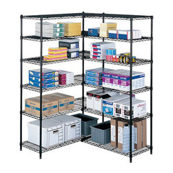 "Safco - Safco 36"" x 18"" Industrial Extra Shelf Pack - Safco - Wire Storage - 5287BL - Extra shelves for Model 5285 Industrial Wire Shelving. Strong welded wire construction for a 1250 lbs. capacity (with weight evenly distributed). Shelves adjust in 1"" increments and attach to existing shelving in minutes without tools. Snap-together clips included. Available in black or metallic gray powder coat finish. Sold in packs of two."