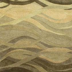 Alliyah Rugs - Olive Green, Turf Green, Dark Green & Light Green Contemporary Rug, 9x12 - Alliyah Handmade New Zealand Blended Wool Rug