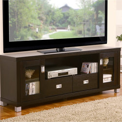 Furniture of America - Furniture of America Bronson 60-inch Media Cabinet TV Stand - Your TV will take pride of place on this 60-inch media cabinet from Bronson. It has two drawers and several shelves, so you'll have enough room for all your AV equipment and DVDs, and it has wire access at the back to simplify setting up your TV.