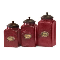 Red Ceramic Canisters - Set of 3 - The vivid red finish of this canister set gives it a bright and cheery look. Each canister has a wood lid and features its own content label. Food safe.
