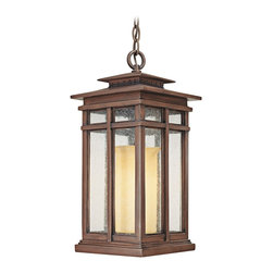 "Troy - Country - Cottage Cottage Grove Collection 19 3/4"" High Outdoor Hanging Light - The Cottage Grove outdoor collection from Troy Lighting offers refined appealing style that's a great match for many homes. The frame comes in a beautiful cottage bronze finish. Clear seeded glass panes combine with an amber scavo glass inner cylinder to create a beautiful glow. A warm inviting look for your exterior. Cottage bronze finish. Clear seeded/amber scavo glass. Takes one 100 watt bulb (not included). 19 3/4"" high. 9"" wide.  Cottage bronze finish.  Clear seeded/amber scavo glass.  A Troy Lighting design.  Takes one 100 watt bulb (not included).  Damp location rated only.  19 3/4"" high.  9"" wide."