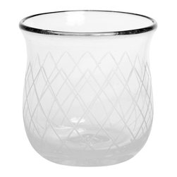 Amoretti Brothers - Amoretti Brothers Mouth-Blown Tumbler- Set of 6 - Hand-engraved tumbler. Mouth-blown recycled glass. Great design with net d̩cor. Exclusive by Amoretti Brothers. Lead free.